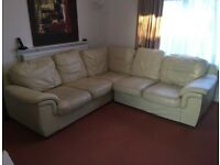 Corner Sofa, cream leather (spring gone in corner)