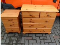 Pine chest of drawers and bedside cabinet