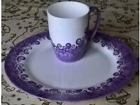 "Hand Painted China ""One Of"" Purple Mug and Plate Set with Gift Box"