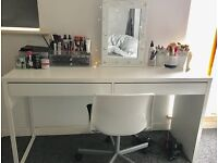 White desk and chair office makeup