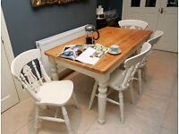 Fabulous Farmhouse table and four beech fiddle back chairs in F&B colour Lime White No1