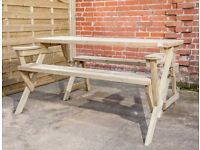 Camilla pressure treated green table which transforming into a garden bench.