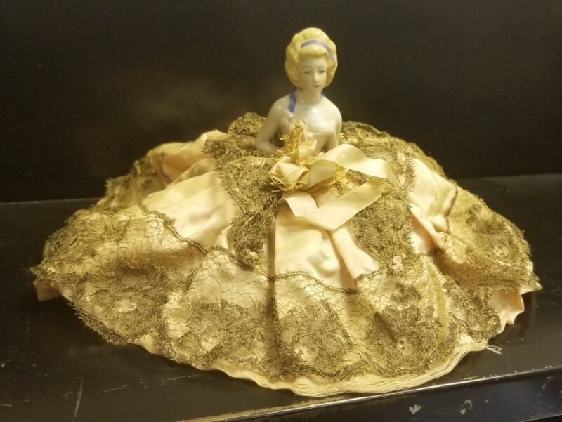 Antique PORCELAIN Half Doll Lace Dress LADY PIN CUSHION GERMANY