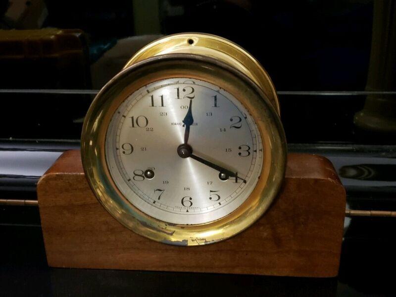 Howard Miller Ships Bell Clock German  11 Jewel 132-071 Germany w/ Wooden Base