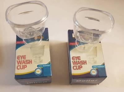 2 PCS Eye Wash Flush-Cups-First-Aid-Wash-Bath-Plastic-Crystal clear Cups