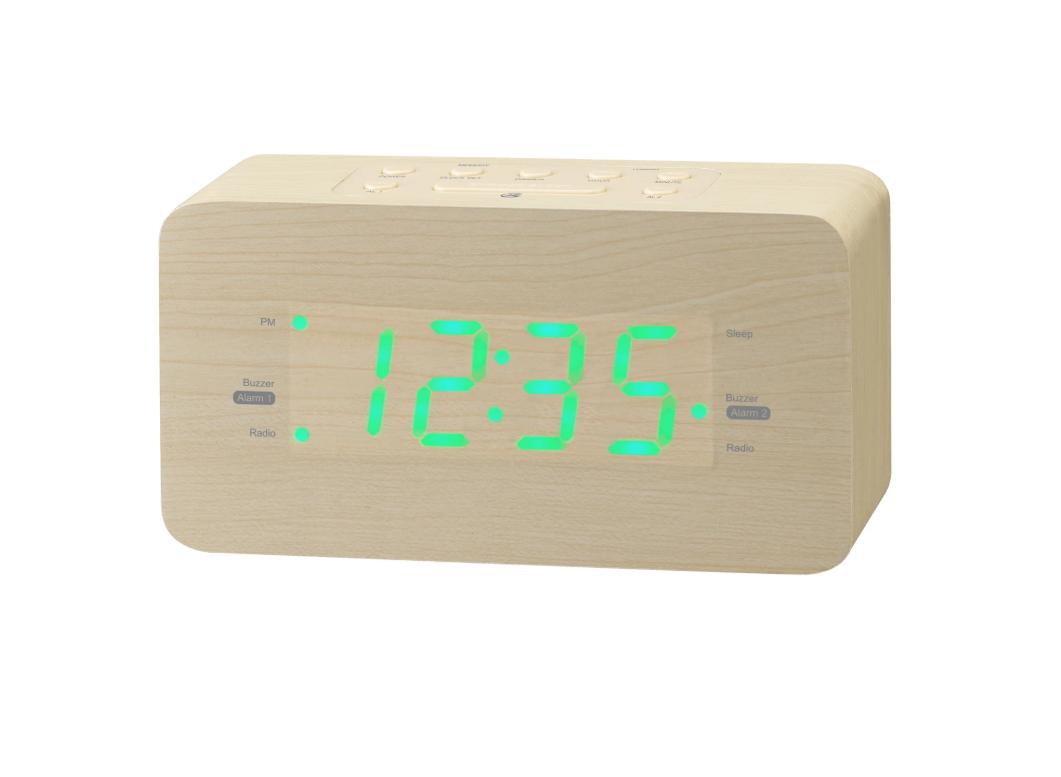 GPX C357LW Light Wood Color FM Clock Radio Dual Alarm