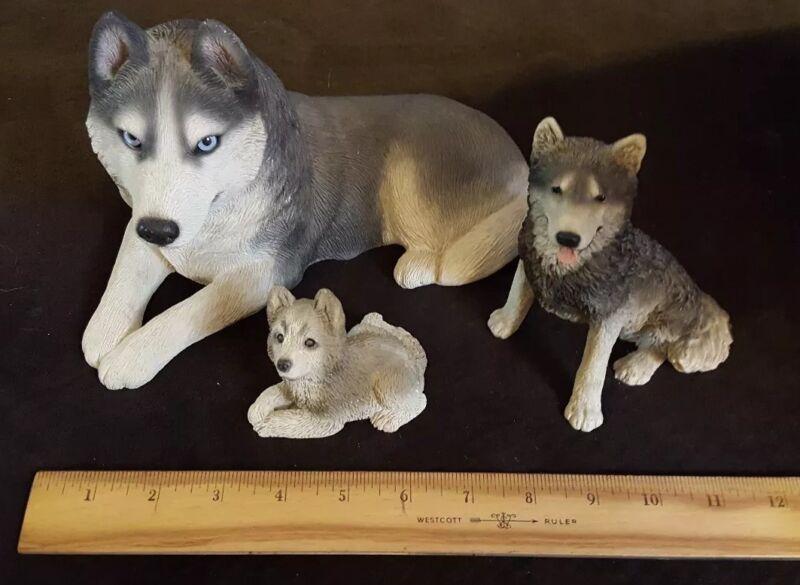 Set Of 3 Wolf/Husky Collectible Figures