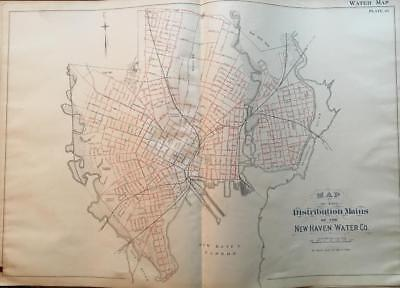 1888 DISTRIBUTION MAINS OF THE NEW HAVEN CONNECTICUT WATER COMPANY ATLAS MAP - Map Of Party City