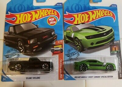 New Hot Wheels 2020 lot of 2 '91 GMC Syclone and 2013 Camaro treasure hunt
