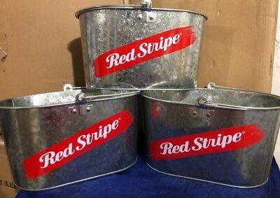 Red Stripe Oval Bucket Galvanized 12