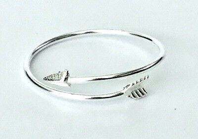 925 Sterling Silver Thin Arrow Wrap Around Ring - Size 6, 7, 8, 9, 10 Gift Boxed