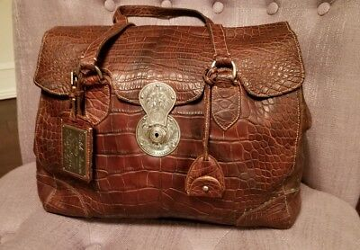 Clasp Satchel Handbag - Ralph Lauren ALLIGATOR Soft Ricky Large Satchel Handbag -Etched Clasp -$26000