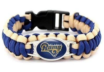 St. Louis Rams Retro NFL Paracord Charm Survival Bracelet Jewelry Blue Gold NEW