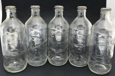 Set Of 5 Vintage Pepsi Bottles Bicentennial 16 Oz. 5 Different Scenes With Caps
