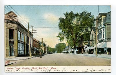 Rockland MA Mass 1907 Union Street view, Gladstone Block, stores, (Union Street Stores)
