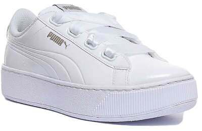 Puma Vikky Platform Ribbon Womens Trainers In White Size UK 3 - 8