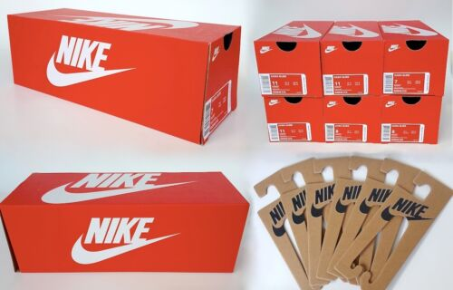 6 Empty Nike Slide Shoe Box Lot Replacement Boxes 12 3/4 x 5 x 4.5 & 6 Hang Tags