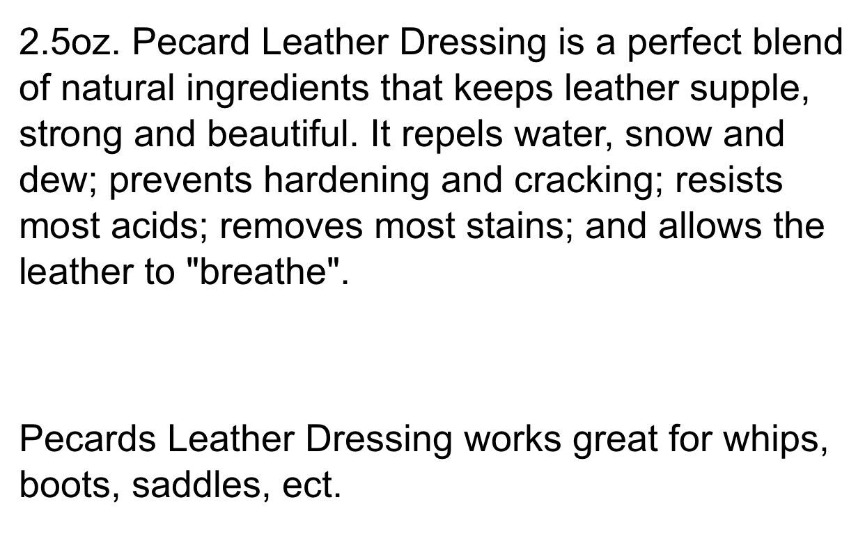 New Pecard Leather Dressing 2.5oz