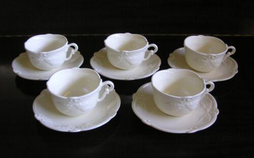 5 Sets Gien France Rocaille After Dinner Cups & Saucers
