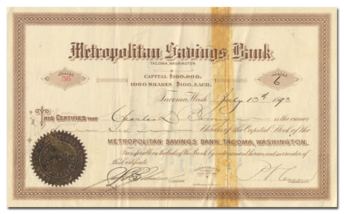 Metropolitan Savings Bank Stock Certificate Issued to / SIGNED BY Charles Barney