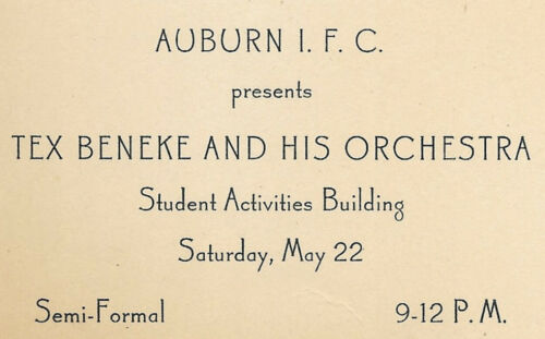 1948 tex beneke orchestra at Auburn University Interfraternity Council; Alabama