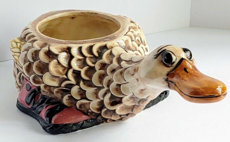 Vintage Ceramic Duck Figurine Planter Handpainted Cute Playful Duck Flower Pot