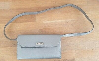 REACTION BY KENNETH COLE. SILVER PURSE/SHOULDER BAG WITH DETACHABLE STRAP.