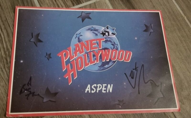 Planet Hollywood Cafe Aspen  Original Menu Rare signed