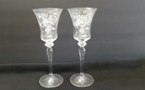 Vintage Fostoria/Cambridge Etched Crystal Wine Glass Stemware Unknown Pattern