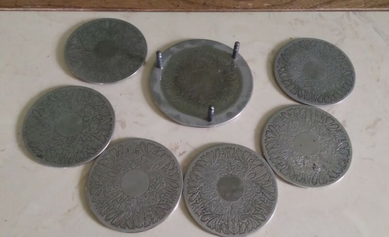 Vintage 6 Etched Silver Plated Drink Coasters & Holder/Caddy Modern Bohemian