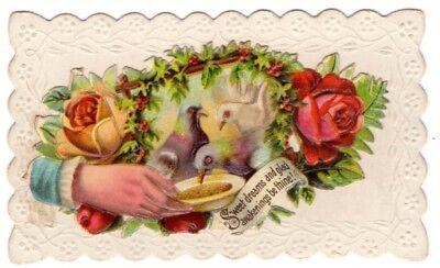 Vintage Beautiful Victorian Hidden name card Sweet Dreams and Glad Awakenings