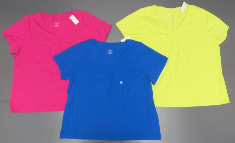 NEW Lot (3) Lane Bryant V-Neck Shirts Women Plus 26/28 Purple Pink Chartreuse