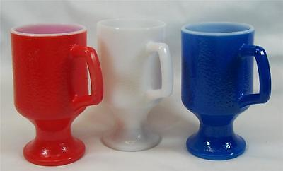Retro Anchor Hocking Milk Glass Red White Blue Textured Footed Coffee Mugs Lot 3