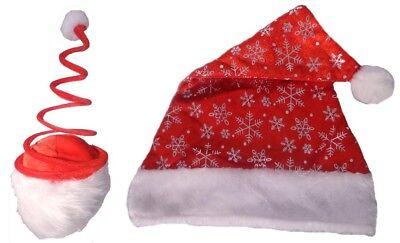 Wacky and Wild Christmas Headwear Set of 2 Spiral Top and Snowflake Santa Hats - Wacky Christmas Hats
