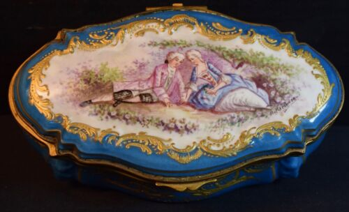 Fine Antique Sevres Style Porcelain Box with Couple
