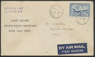 1944 AAMC #4405a Fredericton NB to Montreal First Flight Cover