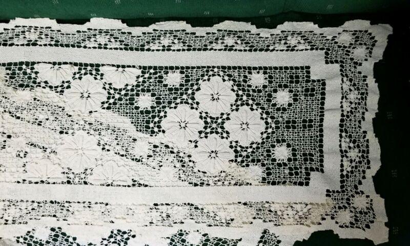 "Antique IRISH Crochet Ecru Lace Runner 12""x 48"" great condition"