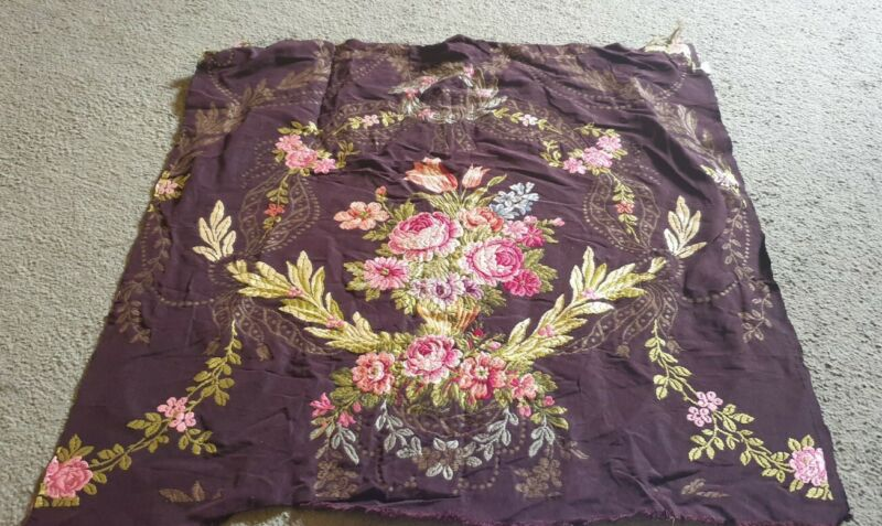 Vintage Antique French Silk - hand woven textile brocade floral wall hanging,