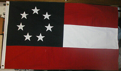 COTTON 7 Star 1st National Stars and Bars Flag, Southern American Civil War Flag