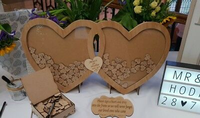 Personalised Wooden Mr&Mrs Drop Double Hearts Wedding Guest Book set Engraved  Double Heart Keepsake Box