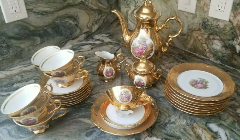 Antique JKW Karlsbad Germany Porcelain Gilt Gold Tea Coffee Set (29 Piece)