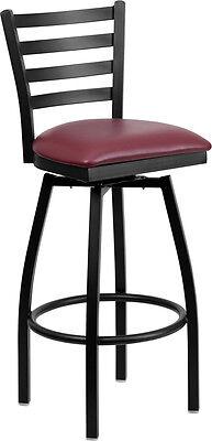 HERCULES Series Black Ladder Back Swivel Metal Bar Stool - Burgundy Vinyl Seat Round Dining Room Series