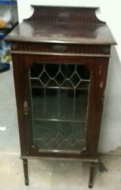 Antique mahogany glazed cabinet with key