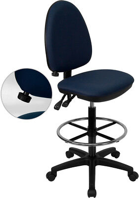 Mid-back Navy Blue Fabric Multifunction Drafting Chair With Adjustable Lumbar...