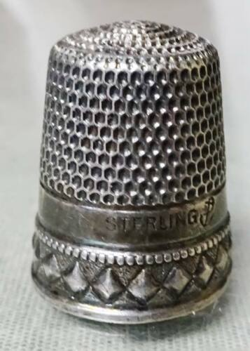Antique / Vintage Sterling Silver Thimble Stern Brothers & Co Monogrammed LENA