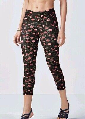 fabletics salar capri gym yoga leggings pants rose romance black pink floral M