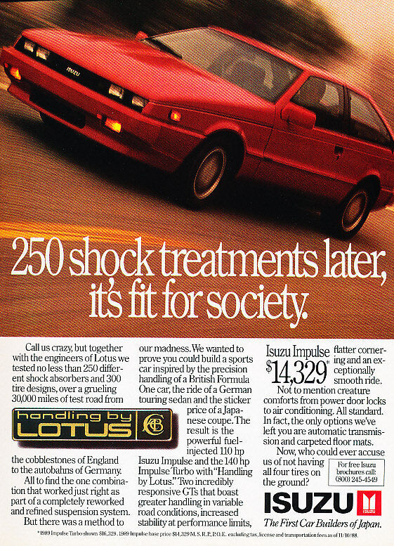 1989 Isuzu Impulse Turbo Classic Advertisement Ad P63