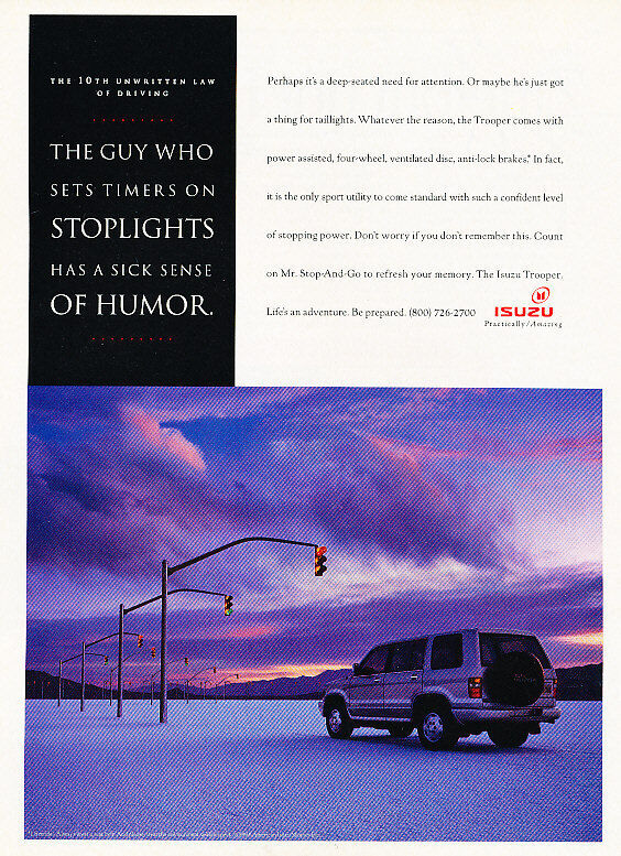 1994 Isuzu Trooper - stoplights - Classic Vintage Advertisement Ad A97