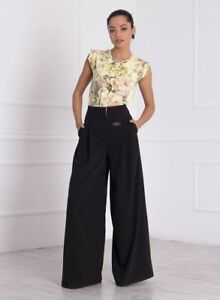 Wide Leg Brown Palazzo Pants with Elegant Butterfly Button Up To