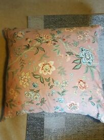 Large floral pink cushion
